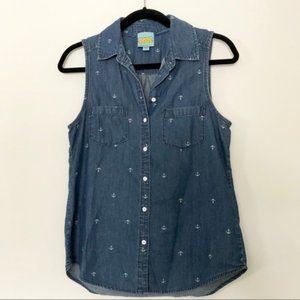 C&C California Anchor Button-Up Chambray Top XS